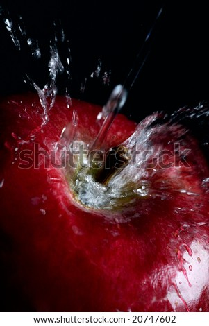 Splash of water on ra red apple - stock photo