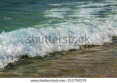 Splash of wave in Mediterranean Sea in Israel - stock photo