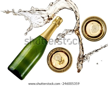 Splash over champagne bottle and two glasses - stock photo