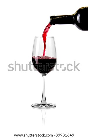 Splash red wine glass against a white background