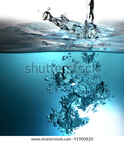 splash  water and bubbles - stock photo