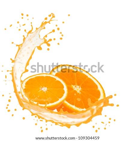 Splash with orange slices isolated on white - stock photo
