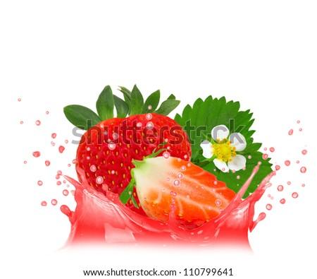 Splash with strawberry isolated on white - stock photo