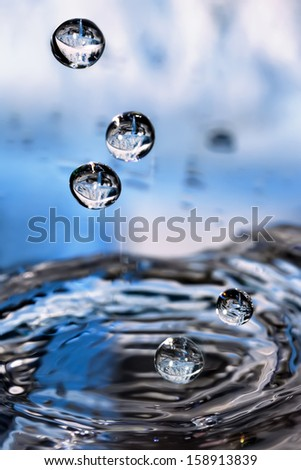 Splashed water drops. Fresh, blue water. Natural background.  - stock photo