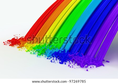 splashes color paint as a rainbow isolated on white