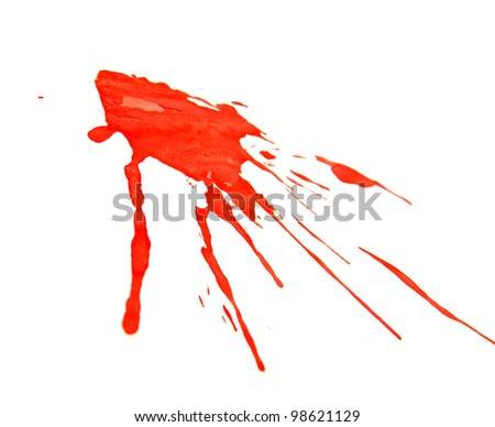 Splashes of a red paint. On a white background. - stock photo