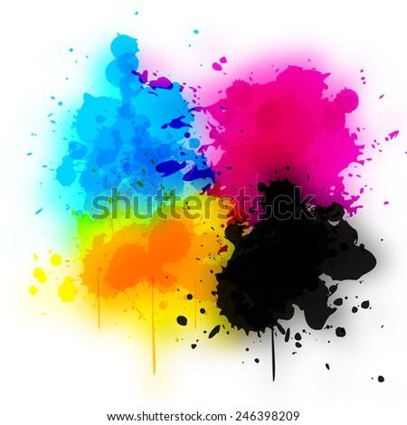 splashes of color CMYK  - stock photo
