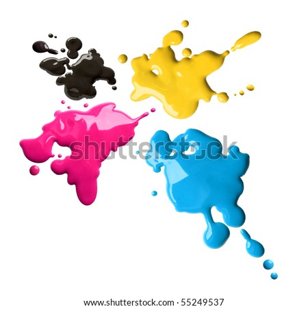 Splashes of four color printing inks cyan magenta yellow black - stock photo