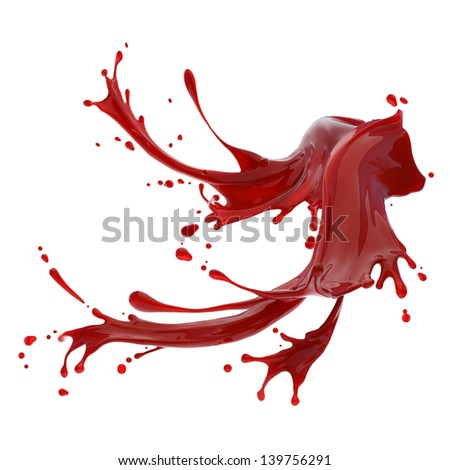 splashes of red liquid isolated on white background design template - stock photo