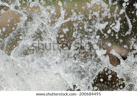splashes of water in nature - stock photo