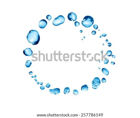 Splashes on white. Ring made from lot of blue water drops - stock photo