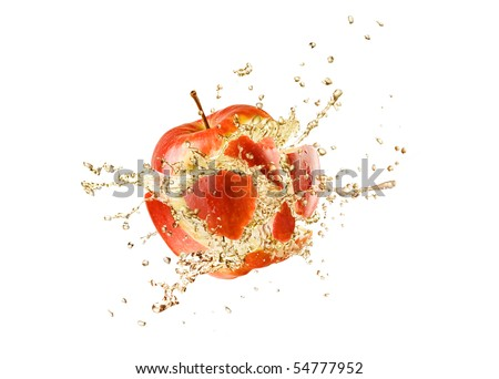 splashing apple isolated on white background - stock photo