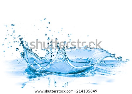 splashing blue water on white background - stock photo