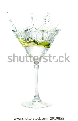 splashing Carambola into a martini glass