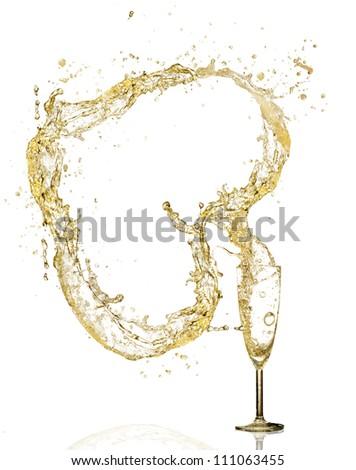 Splashing champagne heart symbol, isolated on white background - stock photo