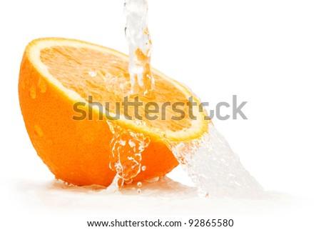 Splashing citrus with a white background - stock photo