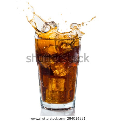 Splashing coke - stock photo