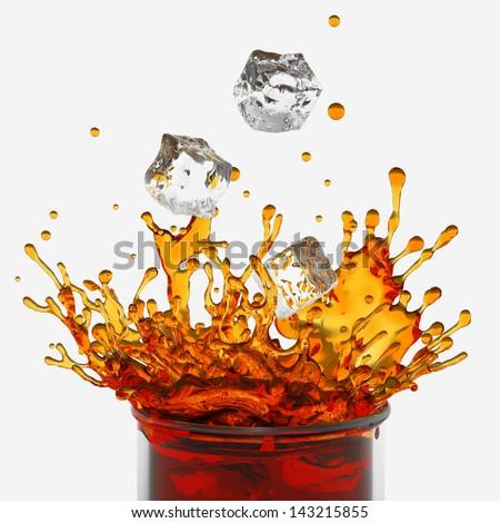 splashing drink, glass, falling ice cubes, isolated on white background - stock photo