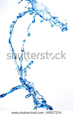Splashing fresh blue water - stock photo
