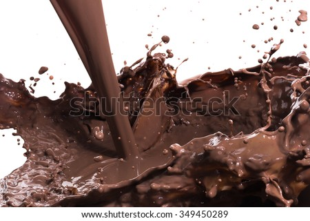 splashing hot chocolate, isolated on white background - stock photo