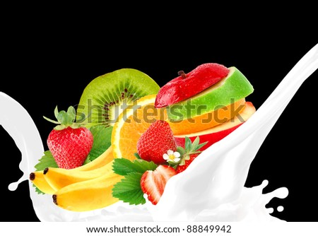 Splashing milk with fruit mix
