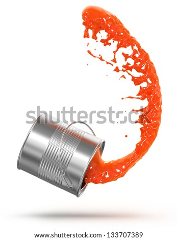 splashing paint on a white background, 3d render - stock photo
