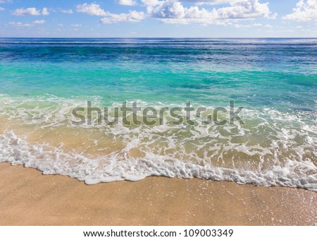 Splashing Scene Beach - stock photo