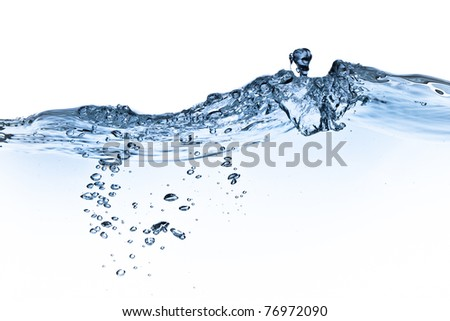 splashing water with bubbles shot on white background