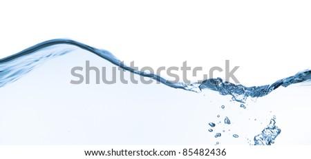 splashing water with bubbles shot on white background - stock photo