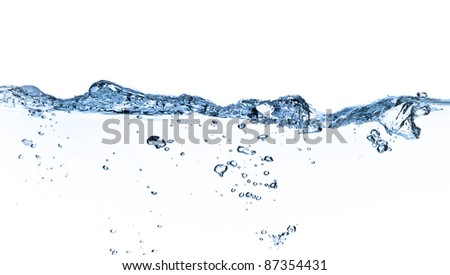 splashing water with bubbles shot on white background - stock photo