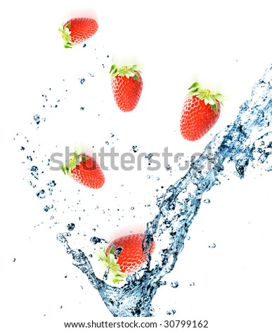 Splashing water with strawberries