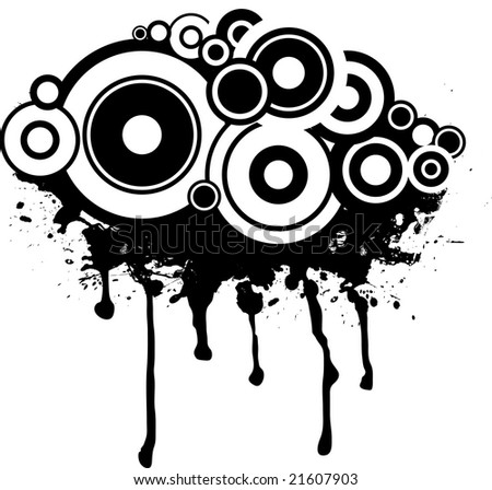 Splat black and white design with a circular gothic background - stock photo