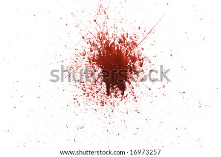 Splattered blood pattern with drips isolated on a white background - stock photo