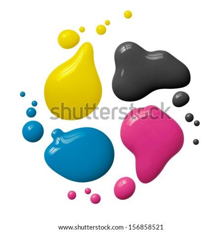 splattered cmyk paint isolated on white background - stock photo
