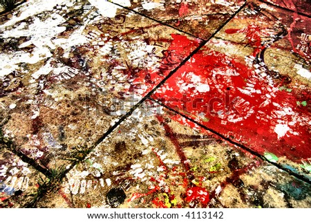 Splattered concrete floor - stock photo