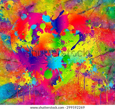 Splattered paint. Abstract background resembling wet splattered paint pattern in the colors of art. Fun, floral colored, digital render is perfect for art backgrounds, imaginative scenes and textures - stock photo