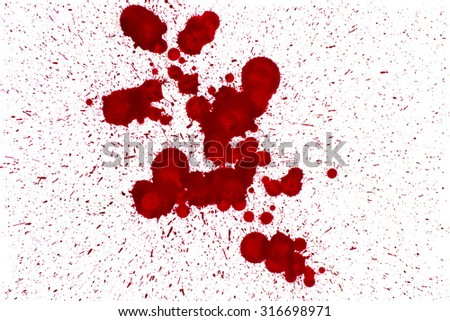 Splattered red watercolor stains on white background. - stock photo