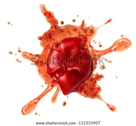Splattered tomato and crushed red fruit vegetable thrown to a wall as a squashed food symbol or a concept for a protest to a bad show or not entertaining performance on a white background.