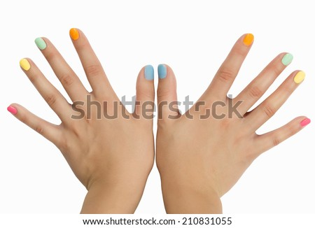 splayed fingers with colored nail polish, manicure, isolated on white background - stock photo