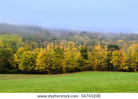 Splendid autumn colors at full peak in new england - stock photo
