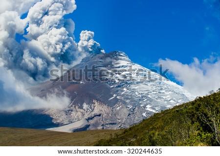 Splendid Cotopaxi volcano erupting in Ecuador, South America - stock photo