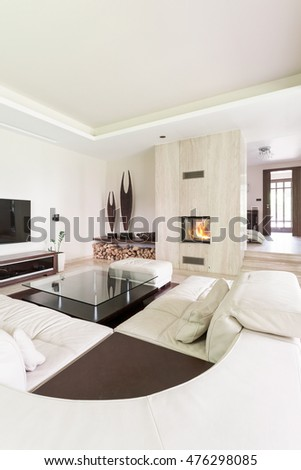 Splendid living room with a large leather lounge, travertine fireplace and decorative sculptures