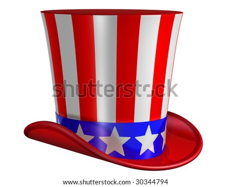 Splendid top hat for Uncle Sam decorated with stars and stripes - stock photo
