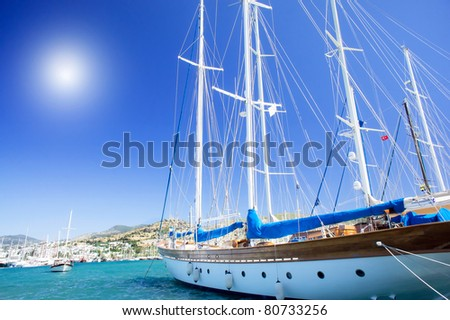 Splendid yachts at coast Aegean sea. - stock photo