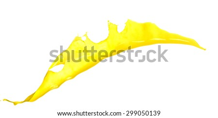 splendid yellow paint splash isolated on white background