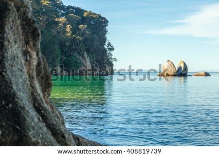 Split Apple Rock in Abel Tasman National Park - stock photo