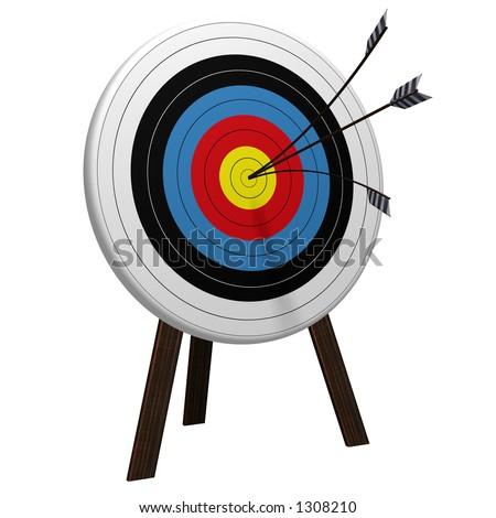 Split Arrow Target high resolution 3D rendering - stock photo