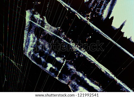 Split broken LCD screen (display) background - stock photo