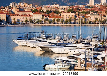 Split cityscape on the Adriatic Sea in Croatia, Dalmatia region, luxury motorboat harbour in the foreground