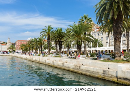 SPLIT, CROATIA - AUG 22, 2014: Port of Split, Croatia. Split is the largest city of the region of Dalmatia and a popular touristic destination